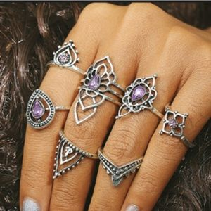 New: 7 Pc Silver and Purple Trendy Boho Ring Set